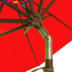 Parasol Lacanau Rouge Coquelicot 300 cm Bois : Toile vue de dessous