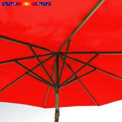 Parasol Lacanau Rouge Coquelicot 300 cm Bois : système d'ouverture vu de dessous