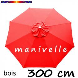 Parasol Lacanau Rouge Coquelicot 300 cm Bois rond à Manivelle