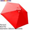 Parasol Biarritz Rouge Coquelicot 300 cm alu manivelle : vu de dessus