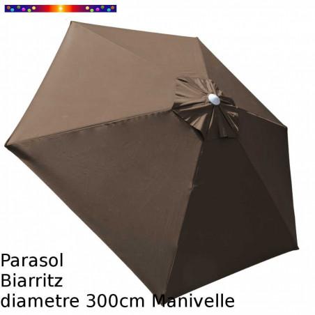 Parasol Biarritz Taupe 300 cm alu manivelle