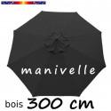 Parasol Lacanau Gris Souris 300 cm Bois Manivelle