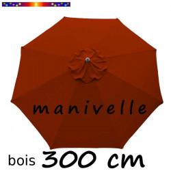 Parasol Lacanau Terracotta 300 cm Bois à manivelle
