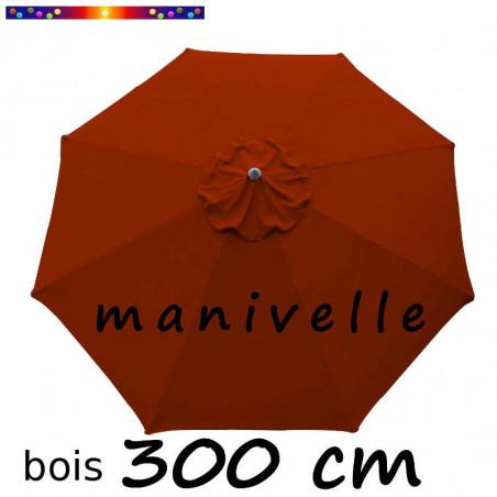 Parasol Lacanau Terracotta 300 cm Bois Manivelle