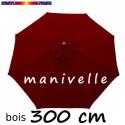 Parasol Lacanau Rouge Bordeaux 300 cm Bois Manivelle