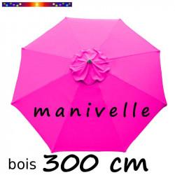 Parasol Lacanau Rose Fushia 300 cm Bois Manivelle