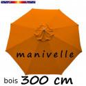 Parasol Lacanau Orange 300 cm Bois Manivelle
