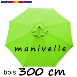 Parasol Lacanau Vert Lime 300 cm Bois Manivelle