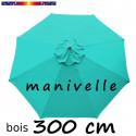 Parasol Lacanau Bleu Turquoise 300 cm Bois à manivelle