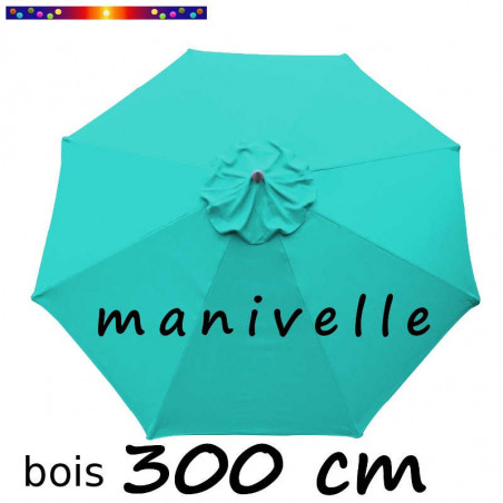 Parasol Lacanau Bleu Turquoise 300 cm Bois Manivelle