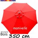 Parasol Lacanau Rouge Coquelicot 350 cm Bois Manivelle