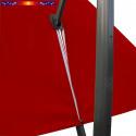 Toile de remplacement 3x3 pour Parasol Excentré Rouge Bordeaux : vue du zip de la toile pour mise en place sur le mât