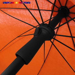 Parasol Orange Mandarine 200 cm design italien : vu du système push-up