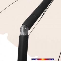 Parasol Ecru 200 cm design italien : détail en position inclinée
