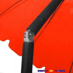 Parasol Rouge Coquelicot 200 cm design italien : détail en position inclinée