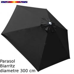 Parasol Biarritz diamètre 300 cm Gris Anthracite : toile vue de dessus