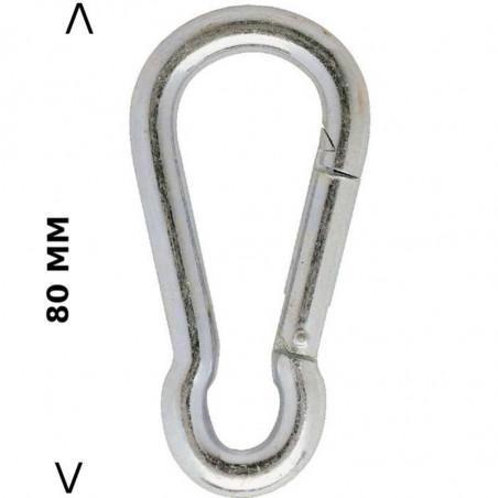 Mousqueton 80 mm acier nickelé