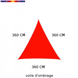 Voile d'Ombrage Triangle 360 cm Rouge Coquelicot