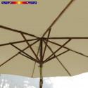 Parasol Lacanau Sable Greige 300 cm Bois : Toile vue de dessous