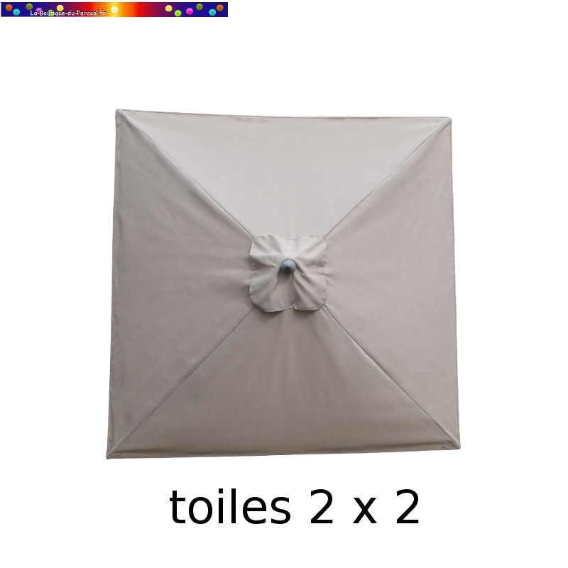 Toile en second choix : Toile de remplacement pour parasol carre 2x2 GREIGE