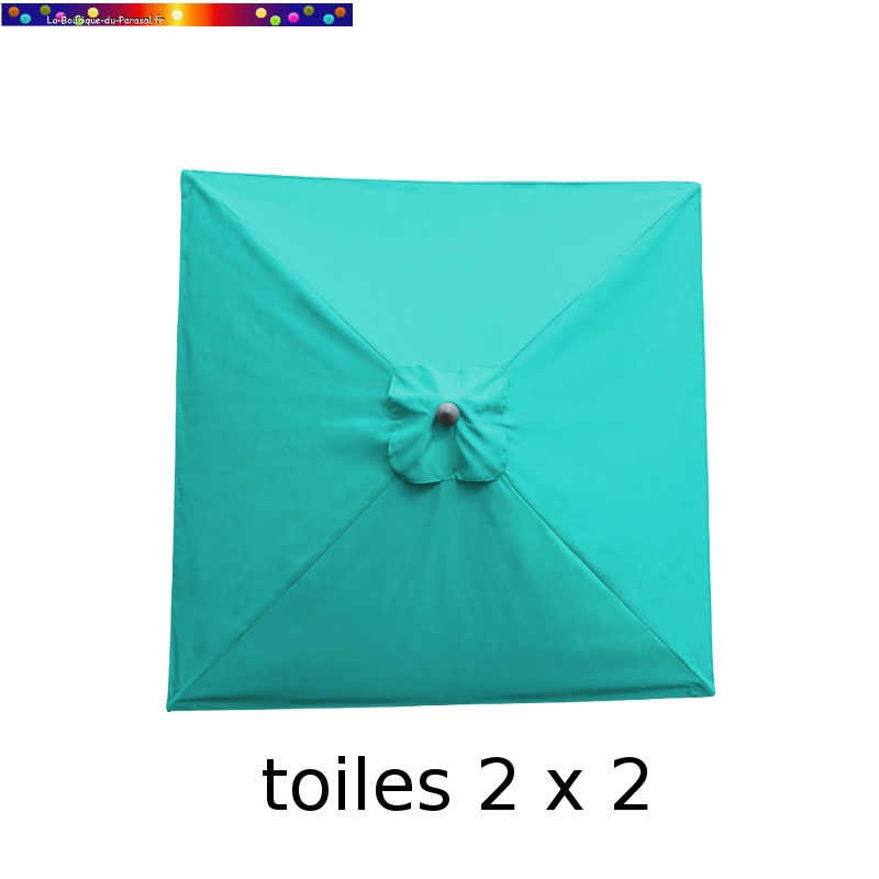 Toile en second choix : Toile de remplacement pour parasol carre 2x2 Bleu Turquoise