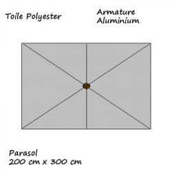Parasol Lacanau rectangulaire : rectangle 200 x 300 cm Aluminium avec toile couleur Gris Souris : descriptif