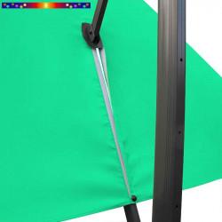 Toile de remplacement 3x3 pour Parasol Excentré Vert Emeraude : vue du zip de la toile pour mise en place sur le mât