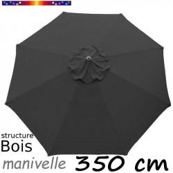 Parasol Lacanau Gris Souris 350 cm structure Bois et manœuvre par manivelle