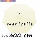 Parasol Lacanau Ecru Crème 300 cm Bois Manivelle