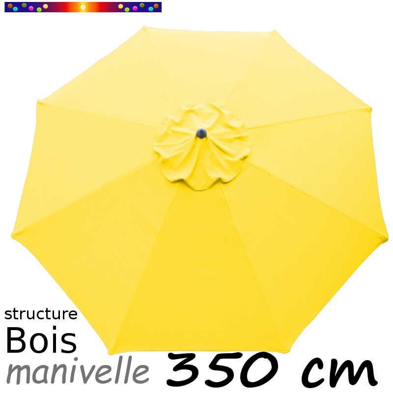 Parasol Lacanau Jaune d'Or 350 cm structure Bois et manivelle