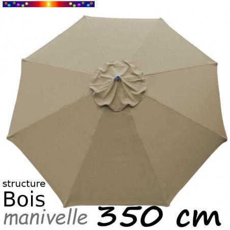 Parasol Lacanau Gris Taupe 350 cm Bois Manivelle