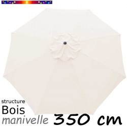 Parasol Lacanau Ecru Nature 350 cm structure Bois et manœuvre par manivelle