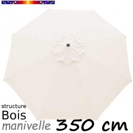 Parasol Lacanau Ecru Nature 350 cm Bois Manivelle