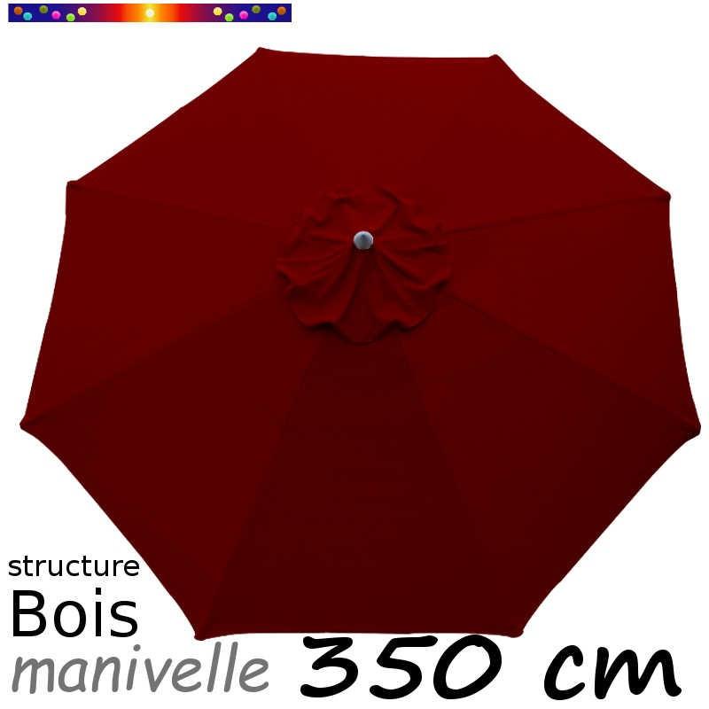 Parasol Lacanau Rouge Bordeaux 350 cm structure Bois et manœuvre par manivelle