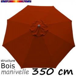Parasol Lacanau Terracotta 350 cm structure Bois et manœuvre par manivelle