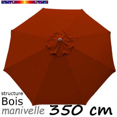 Parasol Lacanau Rouge Terracotta 350 cm Bois Manivelle