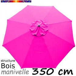 Parasol Lacanau Rose Fushia 350 cm structure Bois et manœuvre par manivelle