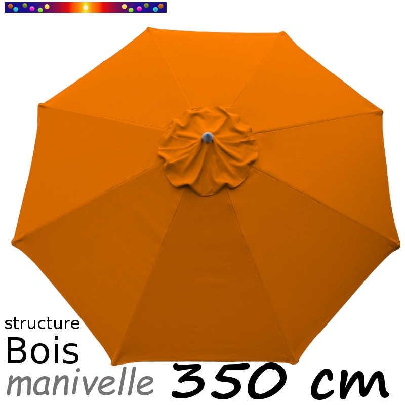Parasol Lacanau Orange 350 cm structure Bois et manœuvre par manivelle