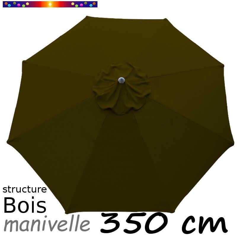 Parasol Lacanau Vert Olive 350 cm structure Bois et manœuvre par manivelle