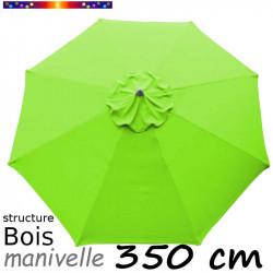 Parasol Lacanau Vert Lime 350 cm Bois Manivelle