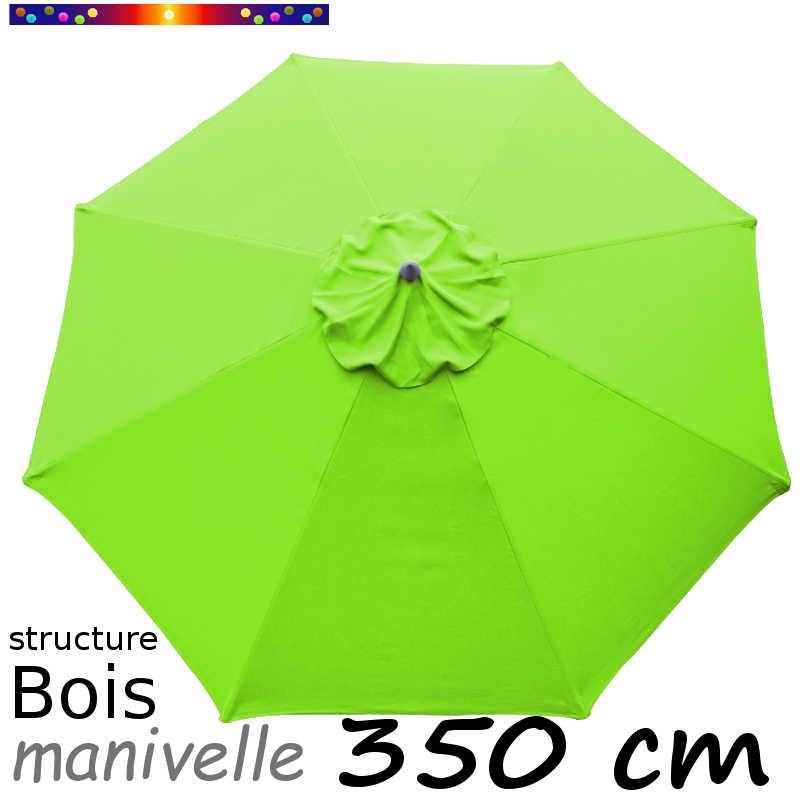 Parasol Lacanau Vert Lime 350 cm structure Bois et manœuvre par manivelle