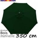 Parasol Lacanau Vert Pinède 350 cm structure Bois et manœuvre par manivelle