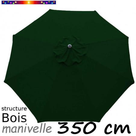 Parasol Lacanau Vert Pinède 350 cm Bois Manivelle