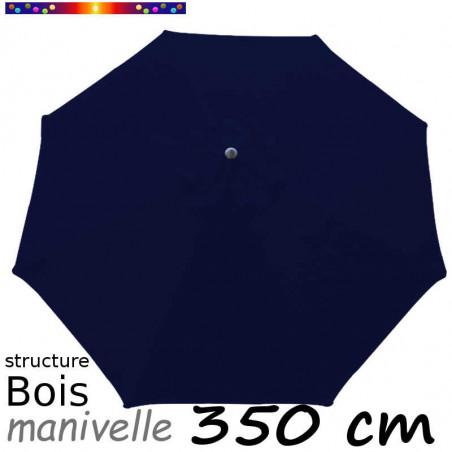 Parasol Lacanau Bleu Marine 350 cm structure Bois et manœuvre par manivelle