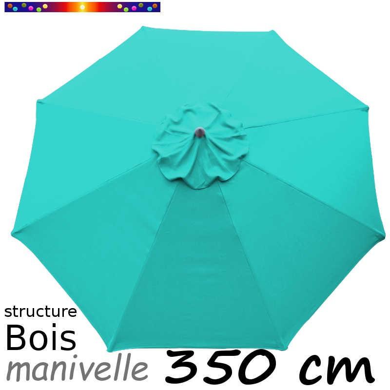 Parasol Lacanau Bleu Turquoise 350 cm structure Bois et manœuvre par manivelle