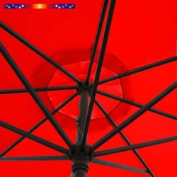 Parasol Lacanau Rouge Coquelicot 350 cm : détail vu de dessous