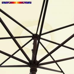 Parasol Lacanau Ecru Crème 350 cm Bois Manivelle : détail de la manoeuvre par manivelle vu de dessous
