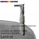 Housse pour parasol excentré latéral 310 cm x Largeur 60 cm : en place sur parasol et détail de la toile