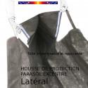 Housse pour parasol excentré latéral 310 cm x Largeur 60 cm : haut de la housse et fixation sur le parasol deporté latéral