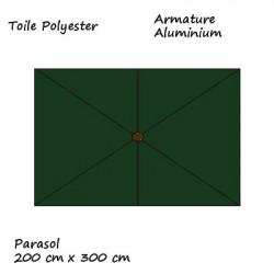 Parasol Lacanau rectangulaire : rectangle 200 x 300 cm Aluminium avec toile couleur Vert Pinède : descriptif